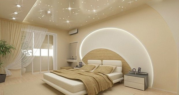 Ремонт спальни с потолочным освещением