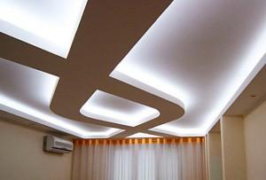 Дизайн потолка с подстветкой